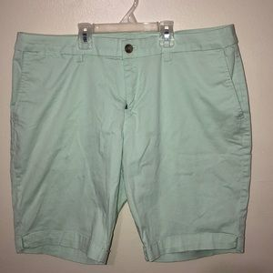 Thigh high shorts color pastel teal green